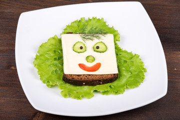 Fun food for kids - face on bread