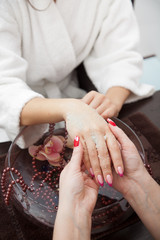 beautiful hands close-up - spa prodedure