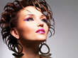 Closeup face of the beautiful  woman with fashion glamour makeup