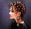 Beautiful woman with fashion  hairstyle and pink makeup