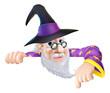 Wizard peeking over sign