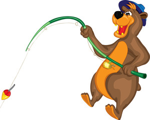 Улыбающийся медведь в шляпе ловит рыбу