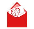 Postal con sobre y tarjeta con corazón