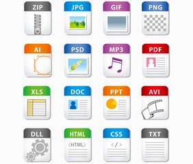 web file labels icon set Vector