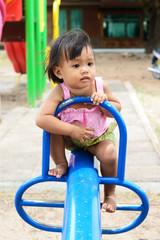 asian baby girl wearing thai dress