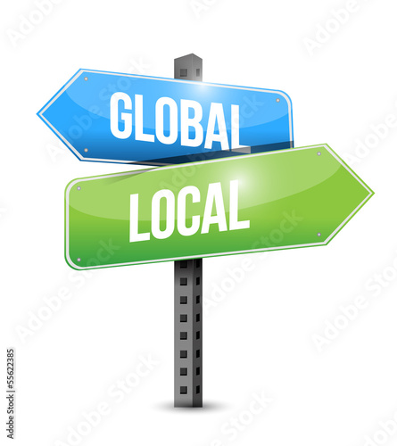 global and local road sign illustration design