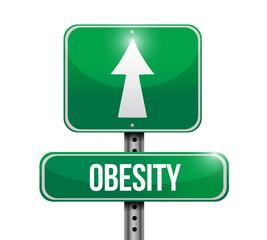 obesity road sign illustration design