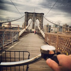 Driving bicycle across the brooklyn bridge