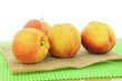 peach fruits in white background closeup
