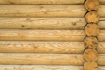 Texture, a wall made of wooden logs