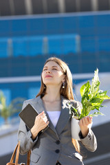 young  business woman with flower