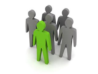 Team leader. Company boss. Teamwork. Concept 3D illustration