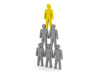 Human pyramid. Team hierarchy. Company boss.