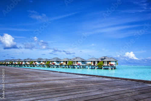 bungalows in the open turquoise sea