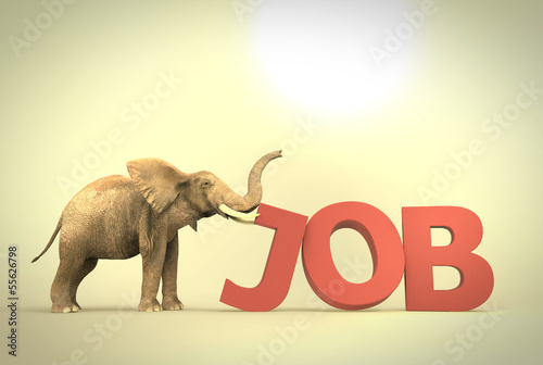 Elephant pushing text job