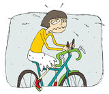 Exhausted girl riding a bike cartoon