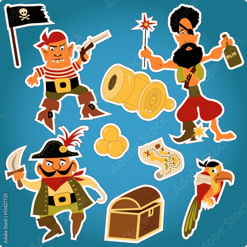 Cartoon pirates stickers