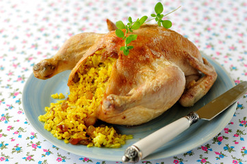 Whole Roast Chicken Stuffed with Curried Rice and Sultanas