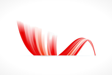 Abstract Chinese waving flag isolated on white background