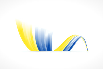 Abstract Ukrainian waving flag isolated on white background