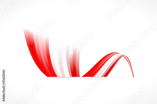 Abstract Danish waving flag isolated on white background