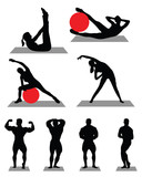 Silhouettes of bodybuilding and fitness, vector illustration