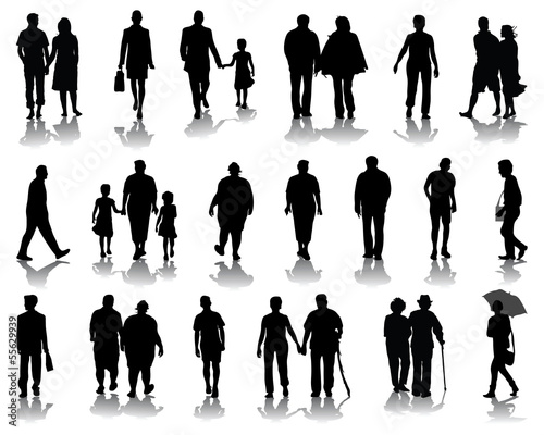 Silhouettes of families walking, vector illustration