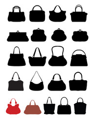 Silhouettes of handbags, vector illustration