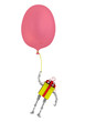 Подарочная коробка в виде робота летит на воздушном шаре