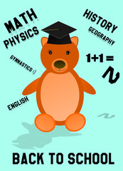 Back to school bear with hat and words