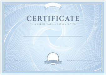 Blue Certificate / Diploma template (design). Guilloche pattern