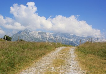 Alpine path landscape, Julian Alps, Slovenia