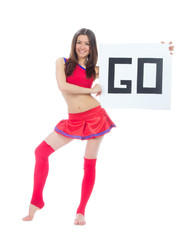 Cheerleader dancer from cheerleading team holding sign go