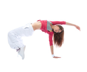 Young dancer girl exercise hip-hop style pose