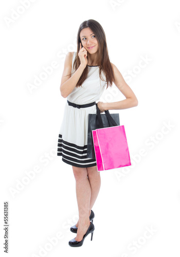 Happy Beautiful  woman with shopping bags cheerful smiling