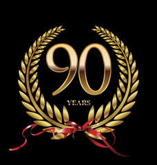 90 years Anniversary golden laurel wreath