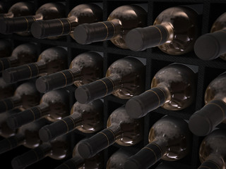 dusty wine bottles in wine cellar