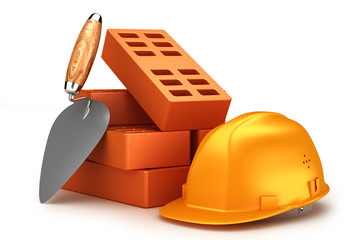 Bricks, helmet and trowel