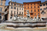 Fountain of Neptune in Piazza Navona, Rome, Italy