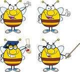 Bee Cartoon Mascot Characters. Set Collection 1
