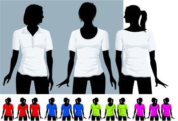 Women's t-shirt and polo shirt design template with black body
