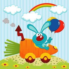rabbit by car from carrots - vector illustration