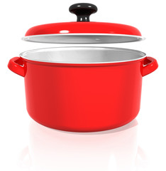 red pan with a raised lid on a white background