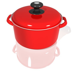 red pot with lid on white background