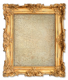 Fototapety golden frame with empty cracked canvas for your picture