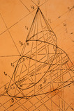 Old sketch from descriptive geometry poster