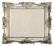 old silver frame. empty grunge canvas with cracks