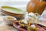 Pumpkin muffins served with whipped cream cheese
