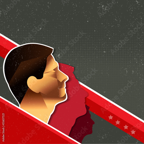 Vector red retro communist background with people
