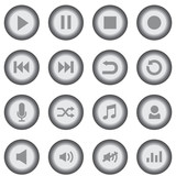 Gray music icons set - web and application music icons